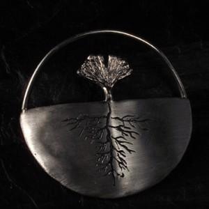 Ginkgo-Baum-Brosche